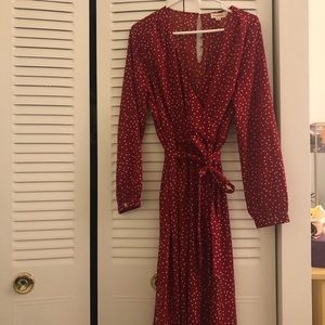 ModCloth red and creme romper with gold buttons